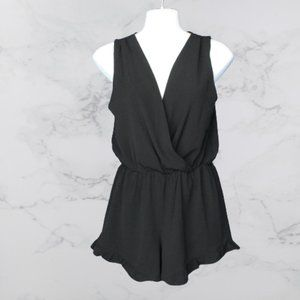V-Neck Romper with Ruffle